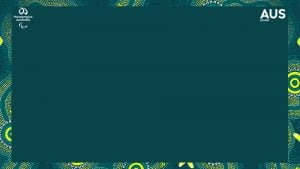 Image of a green background with a border of aboriginal art