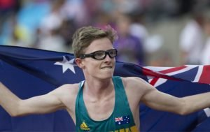 Male para-athlete with Australian flag