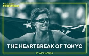 image of male paralympian jaryd clifford. Text: the heartbreak of tokyo