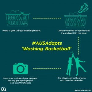 Image with text explaining how to play washing basketball