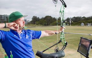 Image of male para-archer Jonathon Milne at training