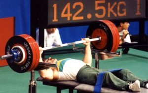 Image of Australian male Paralympic powerlifter Ray Esptein at the Barcelona 1992 Paralympic Games