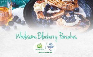 Image of stack of blueberry pancakes and accompanying recipe
