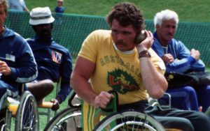 Image of Australian, male Paralympian Eric Russell participating in shot put