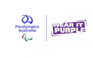 Image of the Paralympics Australia Logo and Wear it Purple logo in a line