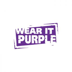 Image of the Wear it Purple Logo of the we are purple organisation which strives to foster supportive, safe, empowering and inclusive environments for rainbow young people.