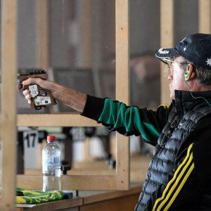 Chris Pitt shooting a 25m sports pistol