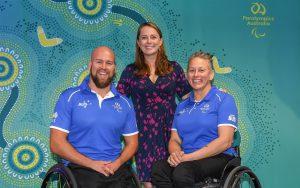 Image of 3 people, left to right: Australian Paralympic Team co-captain Ryley Batt, Chef de Mission Kate McLoughlin, Australian Paralympic Team co-captain Danni Di Toro