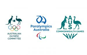 Image of Australian Olympic Committee logo, Paralympics Australia logo and Commonwealth Games Australia logo in a line