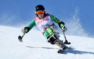 Image of Australian Para-alpine skier Tori Pendergast competing at the PyeongChang Paralympic Games