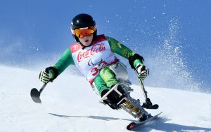 Image of Australian Para-alpine skier Tori Pendergast competing at the PyeongChang Paralympic Games