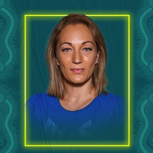 Image containing a dark green background with a yellow border. In the middle is a headshot of Australian para-athlete Eliza Ault-Connell looking straight at the camera. She is wearing a blue t-shirt.