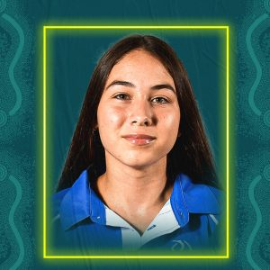 Image containing a dark green background with a yellow border. In the middle is a headshot of Australian para-athlete Rhiannon Clarke looking straight at the camera. She is wearing a blue t-shirt.