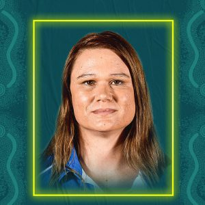 Image containing a dark green background with a yellow border. In the middle is a headshot of Australian para-athlete Sarah Edmiston looking straight at the camera. She is wearing a blue t-shirt.