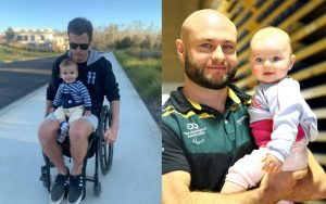 On the left of the image is a male in a wheelchair holding a small child. The person in the wheelchair is Wheelchair rugby player Andrew Edmondson. On the right is a photo of a male holding a baby. The male is Wheelchair rugby player Chris Bond.