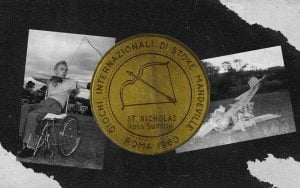 Image of Australian Paralympian Ross Sutton and his gold medal from 1960.
