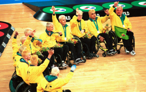 Australia's wheelchair rugby team, the Steelers smiling and celebrating with their silver medal
