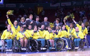 Australia's women's wheelchair basketball team, the Gliders with Silver medal