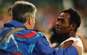 East Timor athlete Alcino Pareira with Sydney 2000 volunteer