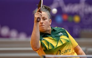 Image of an Australian female Para-table tennis player in a wheelchair