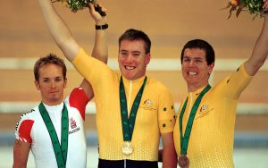 Image of Wolfgang Eibeck, Matthew Gray and Paul O'Neill on the medal podium at the Sydney 2000 Paralympic Games