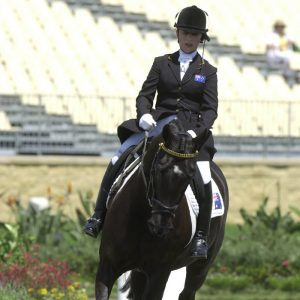 Para-equestrian rider Julie Higgins with a gold medal at the Sydney 2000 Paralympic Games