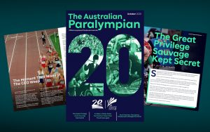The front cover of The Australian Paralympian magazine, October 2020 issue.