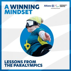 Image featuring Australian Goalball Paralympian Meica Horsburgh. Text on image reads: A winning mindset. Lessons from the Paralympics