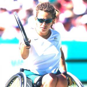 Sydney 2000 Paralympian Danni Di Toro playing wheelchair tennis