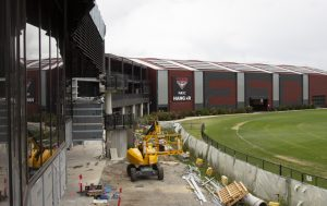 Image of the outside renovations underway for the Essendon Football Club Hangar Facility