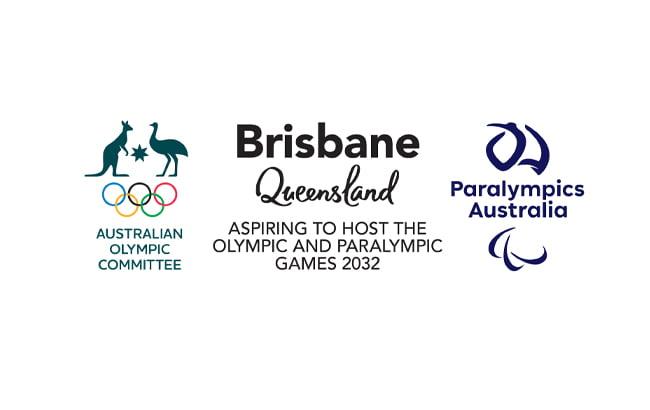 Brisbane 2032 Aspiring Candidature logo alongside Australian Olympic Committee logo and Paralympics Australia logo