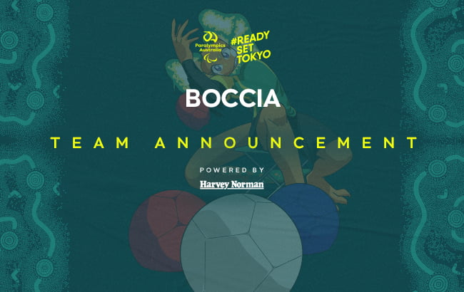 A dark green background with the Australian Paralympic Team mascot, Lizzie the Frilled Neck Lizard, playing with 3 coloured boccia balls and a white jack. At the top of the image in the middle is the Paralympics Australia logo with the words #ReadySetTokyo in gold to its right. Below this is the text: Boccia Team Announcement powered by Harvey Norman.