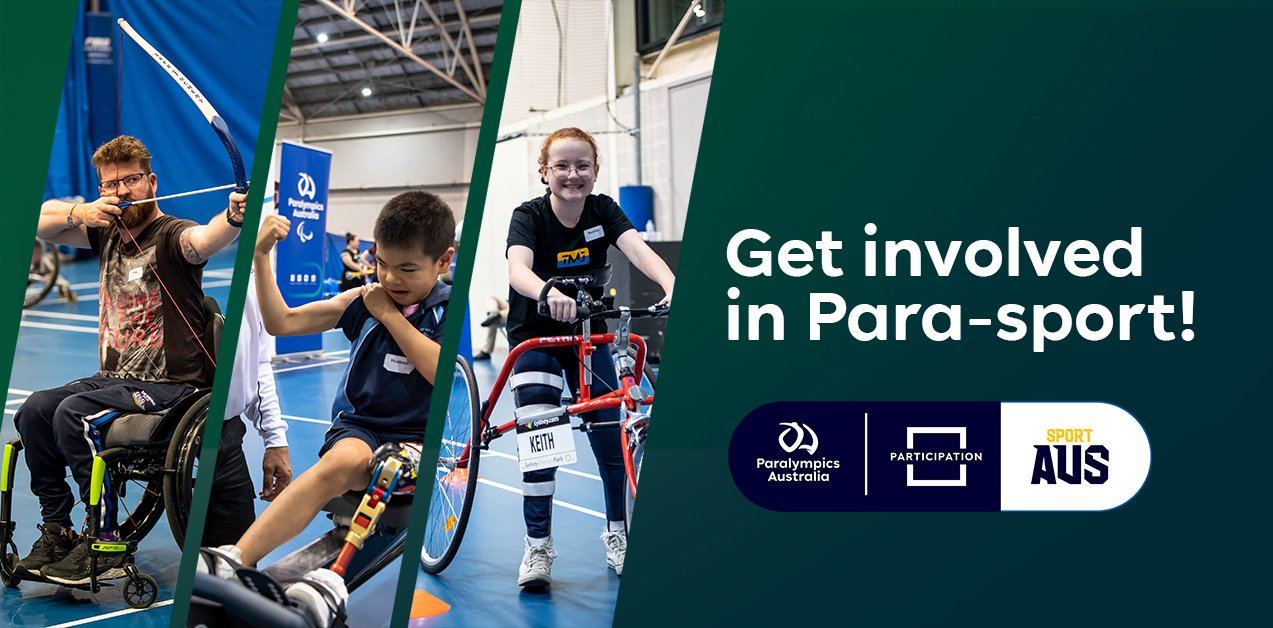 A dark green background with images of three Come & Try Day participants and text reading: Get involved in Para-sport!